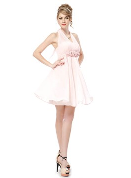Pretty A-Line Halter Flowers Empire Bridesmaid Dress