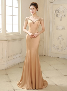 Wonderful Mermaid/Trumpet Cap Sleeves Beaded Evening Dress