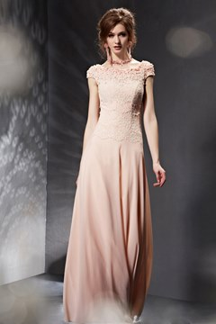 Charming A-Line Cap Sleeves Lace Evening Dress