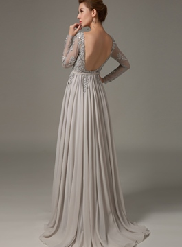 Mysterious Long Sleeves Backless Beading A-Line Evening Dress