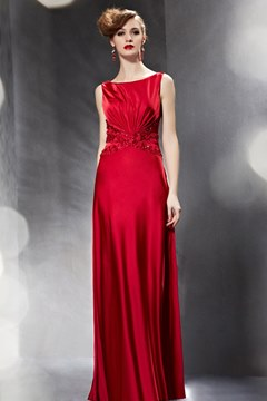Gorgeous Bateau Neck Beaded Ruched Long Red Evening Dress