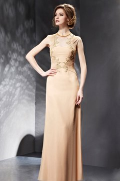 Elegant Beaded Appliques Floor Length Evening/Prom Dress