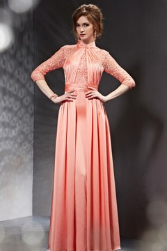 Amazing High Neck Lace Ruched Long Evening Dress