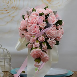 Exquisite Pink Pe Water Rose Bouquet Wedding Bridal Bouquet