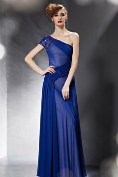 Charming A-Line One Shoulder Short Sleeves Evening Dress