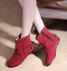 Multi Solid Color Double Layer Tassel Flat Short Boots