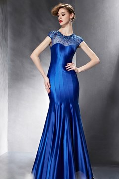 Elegant Cap-Sleeves Sequins Mermaid Evening Dress