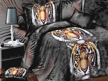 Strong King Tiger Print 4-Piece 3D Bedding Sets