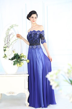 Wunderschöne a-line Off-the-Shoulder-Deckleisten Abendkleid
