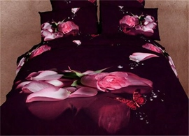 Tender Pink Roses and Butterflies 3D Bedding Sets