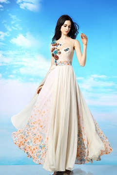 Elegant Flowers One Shoulder A-line Long Evening/Prom Dress
