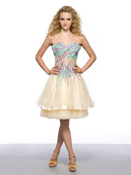 Sweetheart Colorful Beaded See-through Bust Short Homecoming Dress