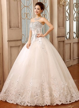 Gorgeous Ball Gown Sweetheart Lace Appliques Beading Wedding Dress