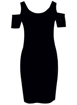 Faddish Crew Neck Off Shoulder Black Little Party Dress