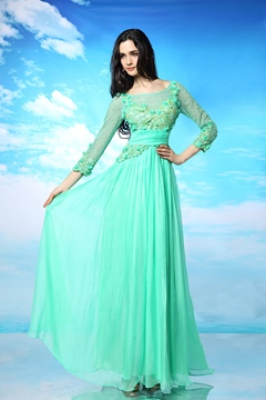 Elegant Scoop Neck Beaded Appliques Long Sleeves Evening Dress