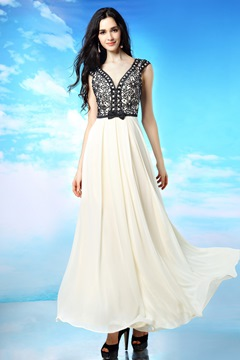 Beading V-Neck A-line Long Evening/Prom Dress