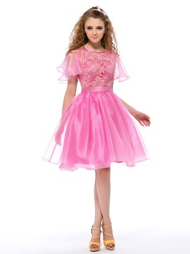 Sweet Lace Short Sleeves A-Line Short Homecoming/Sweet 16 Dress
