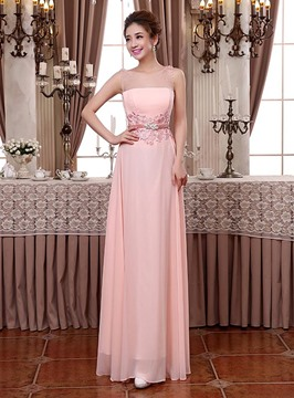 Pretty Scoop A-Line Beading Lace Bridesmaid Dresses