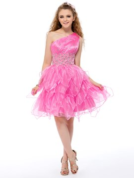 Cute One-Shoulder Beaded Tiered A-Line Short Homecoming/Prom Dress