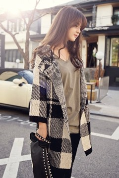 Ericdress Color Block V-neck Long Sleeve Plaid Cardigan