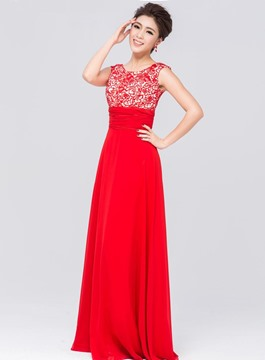 Pretty A-Line Scoop Lace Floor Length Bridesmaid Dress