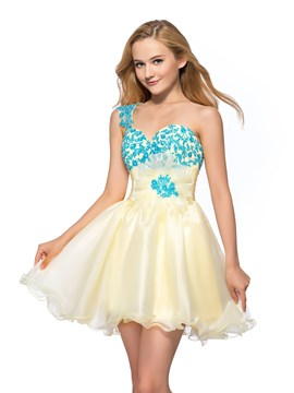 Sweet One Shoulder Flower Applique A-Line Short Homecoming Dress