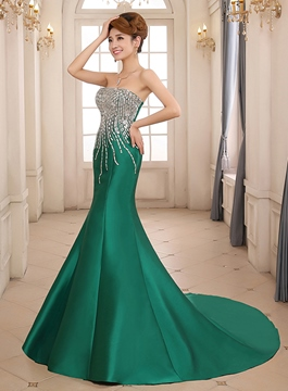 Fantastic Mermaid Strapless Beading Chapel Train Lace-up Evening Dress