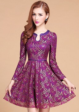 Elegant Purple Slim Long Sleeves Lace Dress