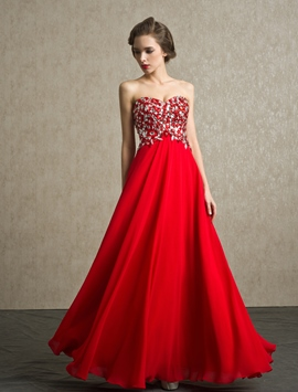 Glittering Sweetheart Floor-Length Beading Prom Dress