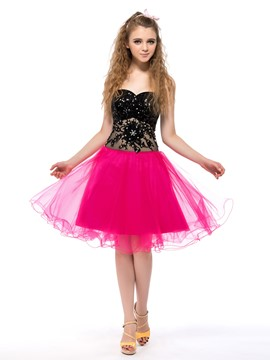 Attractive A-line Sweetheart Sequins Zipper Up Cocktail Dress