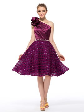 Gorgeous One Shoulder Flower Sequins A-Line Homecoming Dress