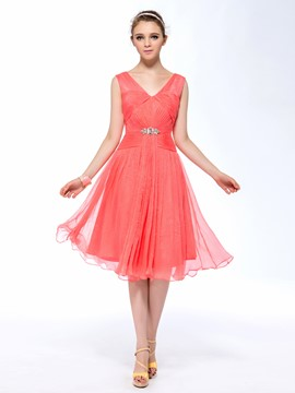 Fashion A-Line V-Neck Sleeveless Ruffles Crystal Zipper-Up Homecoming Dress