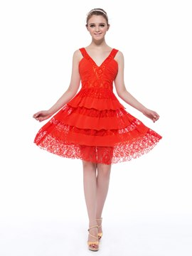 Pretty V-Neck Straps Tiered Lace Short Length Homecoming Dress