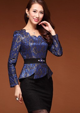 Elegant Blue Lace Sheath Dress