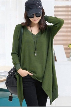 Ericdress Solid Color V-Neck T-Shirt