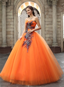 Junoesque Ball Gown Sweetheart Appliques Sequins Quinceanera Dress