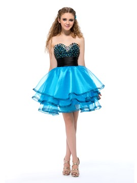 Admirable Sequin Colorful Rhinestone Sweetheart Princess Homecoming Dress