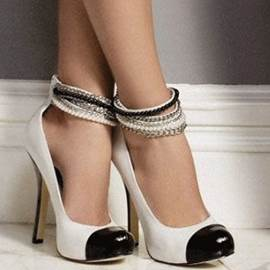 Simple and Classy Beading Ankle Wrap Prom Shoes
