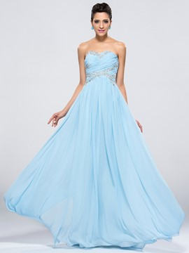 Gorgeous Sweetheart A-Line Zipper-Up Beaded Prom Dress