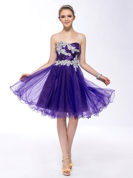 Charming Sequins Strapless Appliques Homecoming Dress