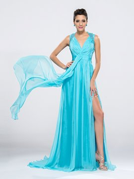 Elegant V-Neck Criss-cross Back Split-Front Beaded Evening/Prom Dress