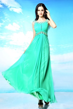 Pretty A-Line Scoop Beading Floor Length Evening Dresses