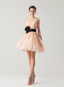 Attractive A-Line One Shoulder Ribbon Ruffles Homecoming Dress