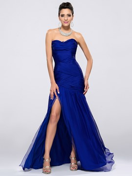 Delicate Strapless Split-Front Mermaid/Trumpet Long Evening Dress