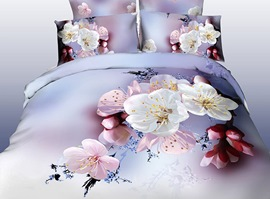 Spring Pure White Flowers 3D Bedding Sets