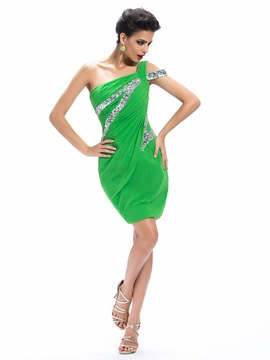 Charming Sheath One-Shoulder Sequins Cocktail Dress