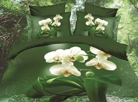 Vivid Green Background 4-Piece 3D Bedding Sets