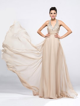 Elegant Beading V-Neck Halter A-Line Sweep/Brush Train Evening/Prom Dress