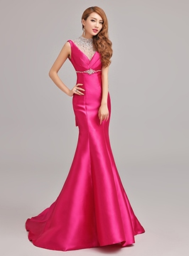Stunning Mermaid V-Neck Crystals Sequins Evening Dress