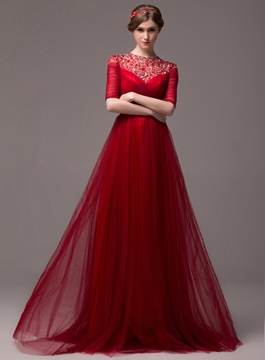 Vintage A-Line Beading Half Sleeves Lace-up Long Evening Dress